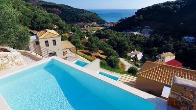 Photo for New Villa with A/C Villa, Spectacular Sea & Mountain Views in the Heart of Parga close to the Beach!