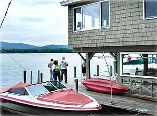 View of the Lake, Boathouse, and very large deck and dock accommodating 2 boats