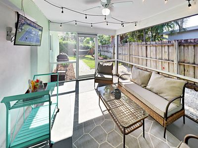 Photo for Newly Renovated 3BR w/ Sunroom, Fire Pit & Fenced Yard  - 2 Miles to Beach