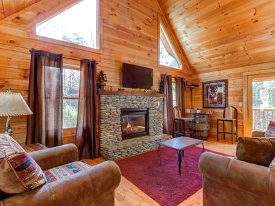 Photo for Dog-friendly cabin w/ hot tub, pool table & decks - close to town!