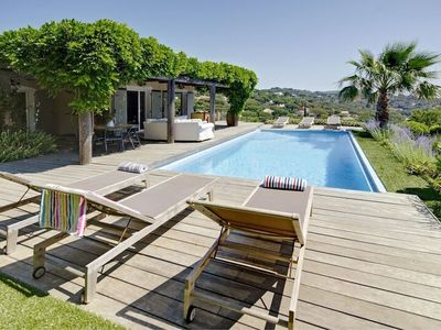 Photo for Holiday vacation large villa rental france, southern france, riviera, cote dazur, pool, view, air conditioning, near bea