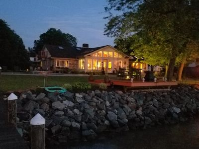 VIEW OF HOUSE AT NIGHT - FROM DOCK