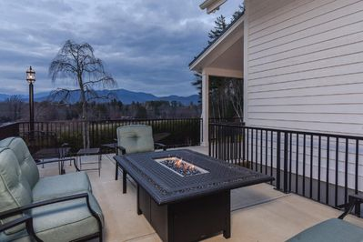 Patio with spectacular views, gas fire table, dining table and hot tub not shown