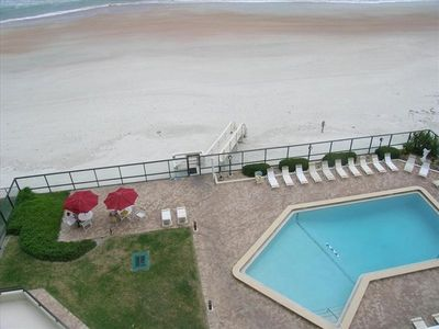 Balcony view of Pool and Drive free beach for miles