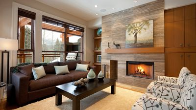 Contemporary Living Area with Fireplace and TV
