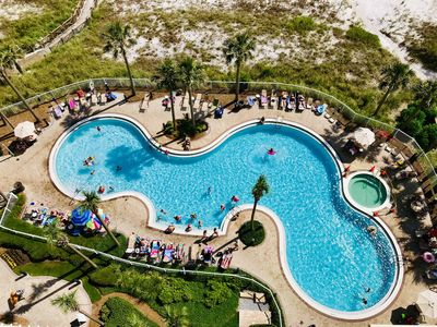 View of the pool from the balcony