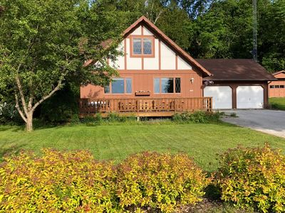 Photo for Lagom Lodge, a lovely three-bedroom chalet style home that sits on the lakefront