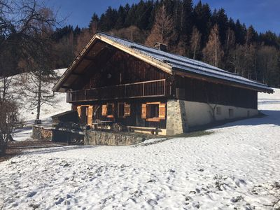 Photo for authentic chalet 1874 in the french alps. Fantastic view over the Mont Blanc.