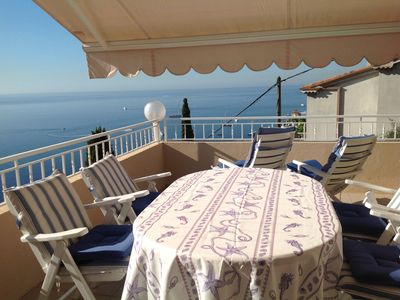 Photo for sun-lit apartment, close to Monaco, stunning view on the Gulf