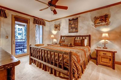 Get a good night's sleep in the master bedroom. The bedding configurations will vary.
