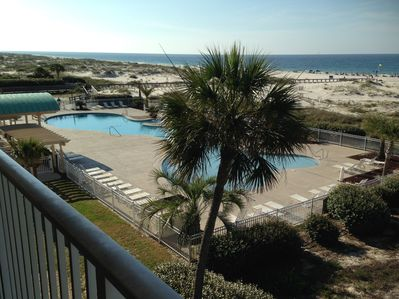 Gulf Front Pool View from condo's private balcony
