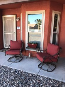 Relax on the front porch before leaving for a spring training game!