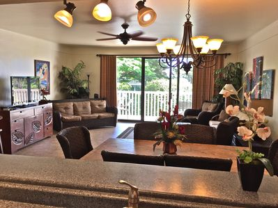 """Living/dining looking from kitchen - 48"""" TV"""