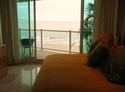 King Size Master Bed with Ocean Terrace View and Satellite TV