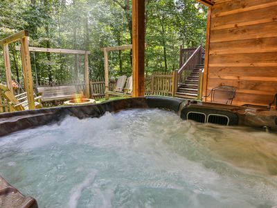 Photo for Spacious newly renovated 3 Bed / 2 Bath Cabin with private HOT TUB and FIRE PIT
