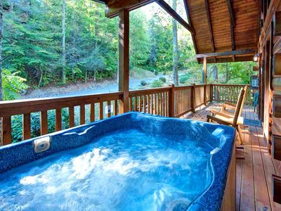 Laze in the hot tub day or night - One advantage of having your own private hot tub on the porch is that you can enjoy a soak first thing in the morning as the sun rises or late at night under a canopy of twinkling stars.