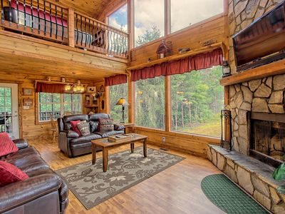 Photo for Dog-friendly cabin w/great mountain view, hot tub, air hockey, outdoor waterfall