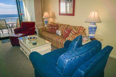 Gulf front living room with brand new queen sofa  sleeper and 60 inch TV!!