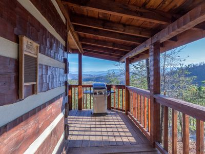 Photo for Great Views Private 2 BR Sleeps 4 Hot Tub Fireplace Kitchen Minutes from Pigeon Forge Covered Decks