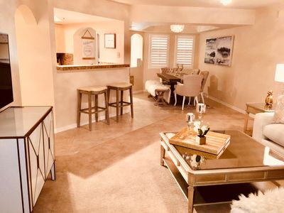 Spacious great room living plan with large screen TV. Elegant & very comfortable