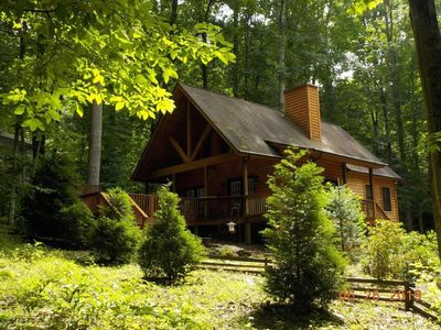 Photo for 2 Bedroom 2 Bath Cabin w/Loft, Hot Tub, Easy Paved Access, Nearby Stream WIFI