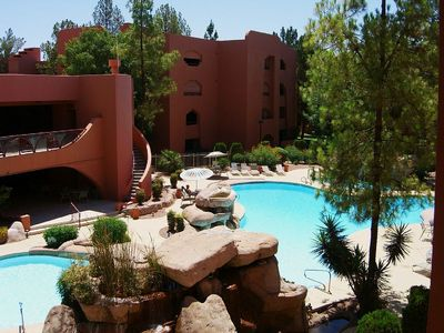 Photo for Golf Course And Sparkling Pool View!  New comfortable furnishings! Ground Floor