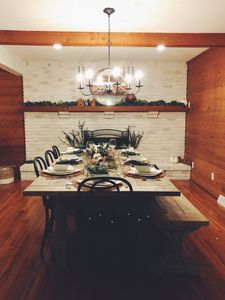 Large dining room can comfortably sit up to 10