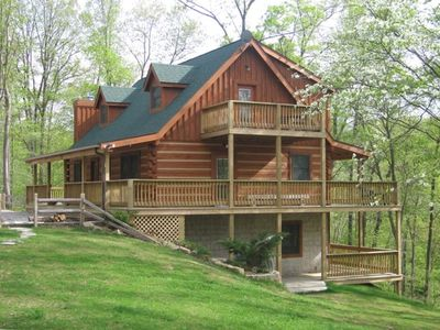 Photo for Cozy Log Home in the Woods with Fireplace