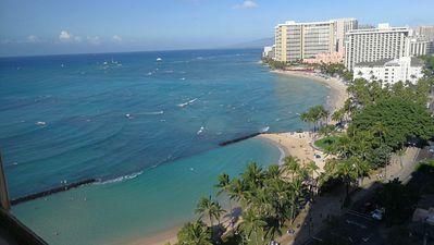 The view from the condo in the morning.  Waikiki beach in front