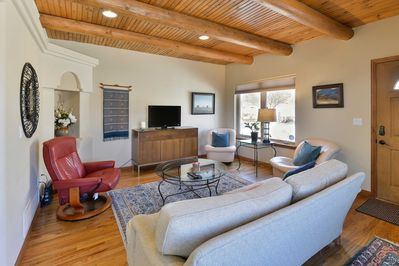 Make yourself at home in the cozy, bright living area.