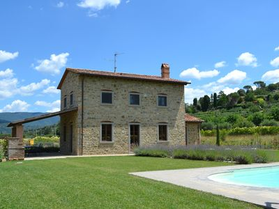 Photo for Restored Tuscan villa w/ large private pool, wifi, air con, view of Cortona