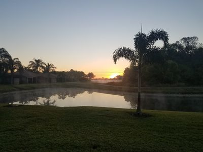 View of sunrise from screened porch