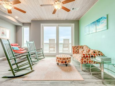 Photo for Beautiful home w/three balconies, fireplace & great views-steps from the beach!