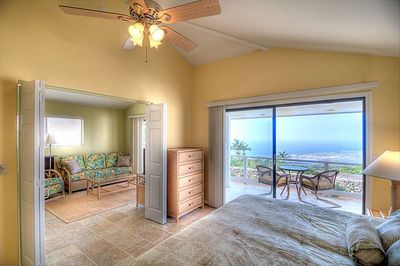 Bedroom with view towards the lanai and the living room