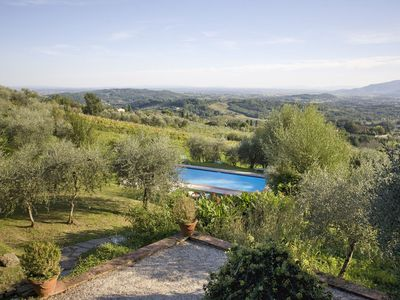 Photo for Villa with private pool, hot tub, WIFI, A/C, TV, patio, panoramic view, parking, close to Lucca
