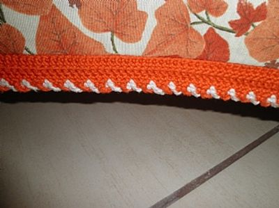 Detail of the crochet work on the bedspread