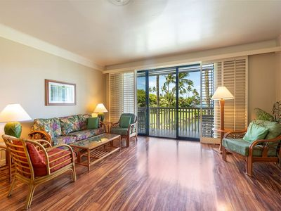 Photo for Poipu Split-Level Style w/Kitchen, Lanai, WiFi, Flat Screen, Ceiling Fans–Kiahuna 2213