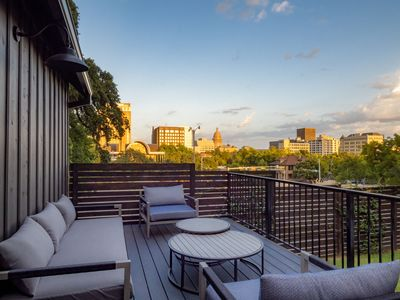 Balcony with a view of the Texas Capitol and Downtown Austin