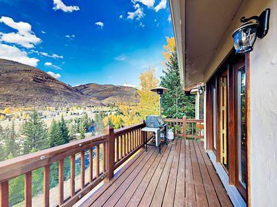 Photo for Luxurious 4BR Retreat w/ Mountain-View Double Deck & Two-Sided  Fireplace