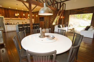 6'custom built round dining room table with lazy Susan; perfect for meals/games
