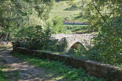 The ancient stone bridge seems anchored in a distant time