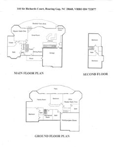 Floor Plan showing all 3 floors, garage, work out area & spaces not in pictures