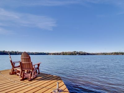 Photo for NEW LISTING! Family-friendly, lakefront cabin w/ furnished deck, firepit, & dock
