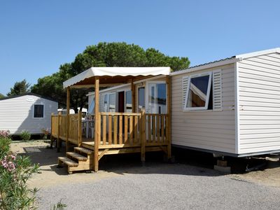 Photo for Mobil home 4/8 pers, air-conditioned, any comfort, direct access to the beach