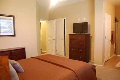 Master Bedroom. Satellite TV, DVD player. Large walk in closet and two dressers
