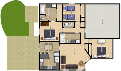 Floorplan showing layout of the house with furniture.