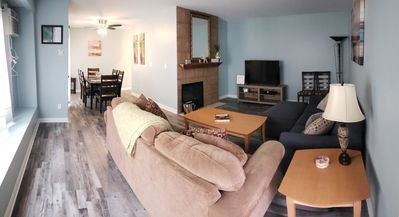 Chic, comfortable, newly renovated and redecorated!  Living Room & dining room