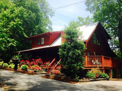 Photo for Spacious, Log Cabin-Peaceful setting close to area attractions & small lake