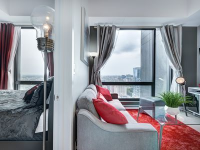 Photo for Romantic 1 BDR Brand New Condo FULLY EQUIPED - Downtown Montreal - Monthly renta