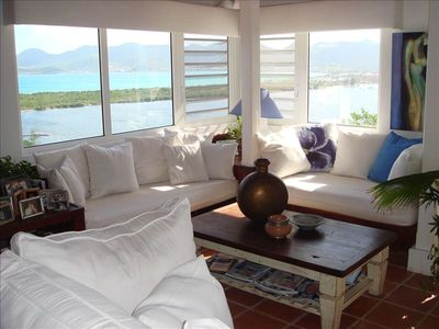 Living Room view of Marigot harbor and the French side, including Sandy Ground